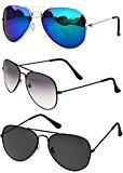 Sheomy Combo Set of 3 UV Protected Aviators Unisex Sunglasses(Blackblack_Halfblack_Silverbluemercury|55|Black, Silver Blue)