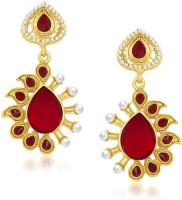 Meenaz Stunning Red Designer Kundan Cubic Zirconia Alloy Drop Earring