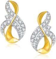 Meenaz Royal Design Gold & Rhodium Cubic Zirconia Alloy Stud Earring
