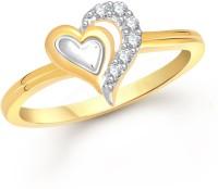 Meenaz Designer Heart Shape Gold & Rhodium Alloy Cubic Zirconia Ring