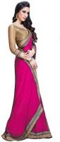 Rockchin Fashions Solid Fashion Chiffon Saree(Pink)