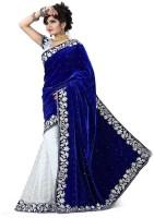 Shiv Fashion Club Self Design Bollywood Brasso, Velvet Saree(Blue, White)