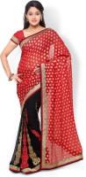Hitansh Fashion Printed Fashion Georgette Saree(Red, Black)
