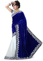 PRN Self Design Bollywood Velvet Saree(Blue)
