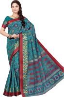 M.S.Retail Printed Gadwal Cotton Saree(Blue)